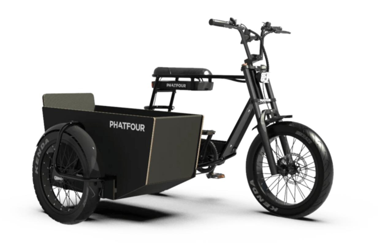 E Fatbike Seitenwagen Fahrrad Phatfour 630Wh FLB+ Schwarz