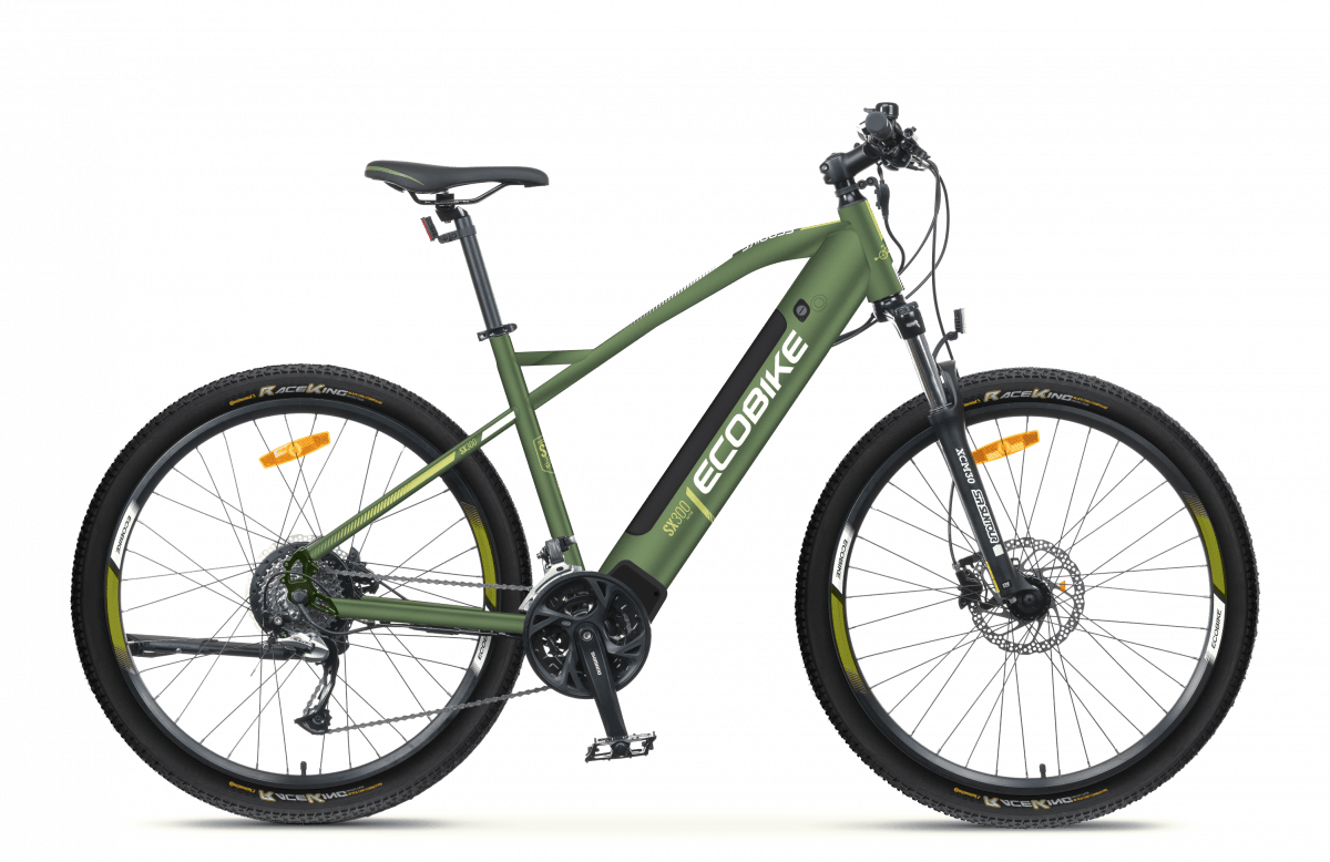 S Pedelec Mountainbike Mittelmotor 45km/h Ecobike SX300 Gruen 500Wh