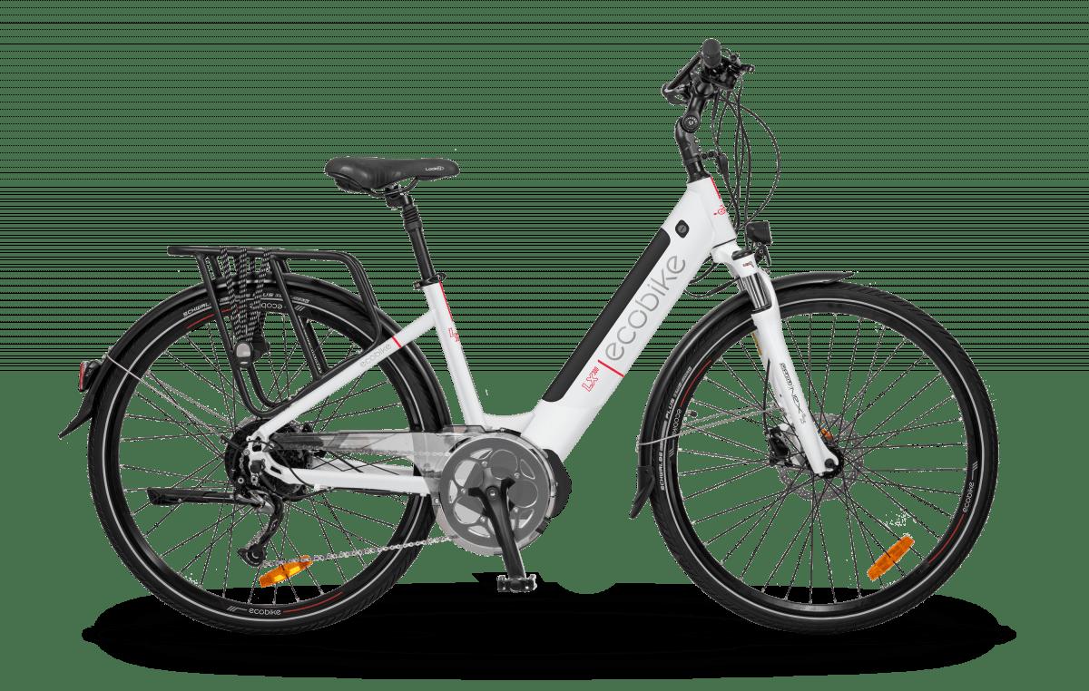 E Bike Damen S Pedelec Mittelmotor 45km/h Ecobike LX300 Weiss 500Wh