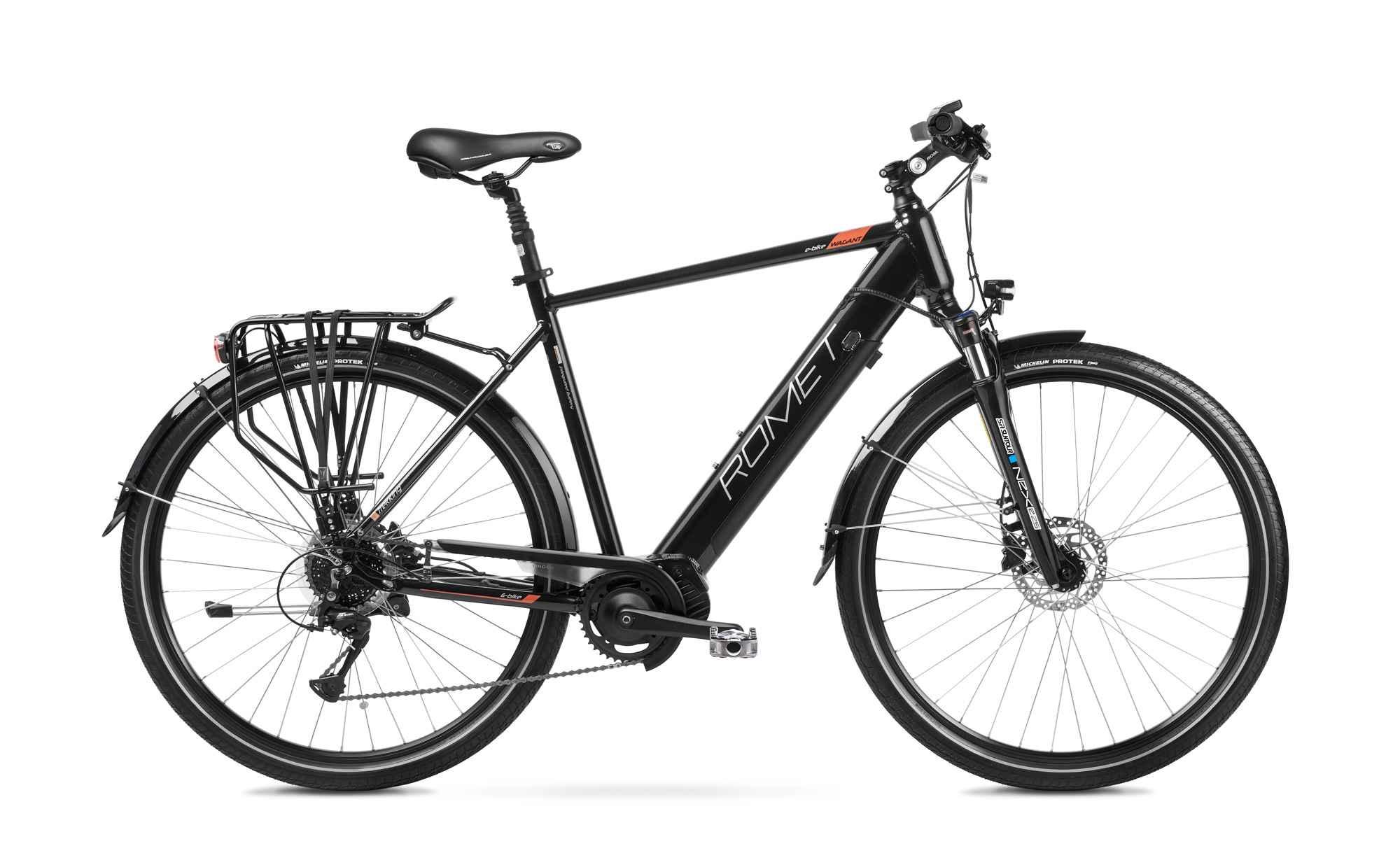 "E Bike Trekking Herren Mittelmotor 28 Zoll Romet Wagant 1MM Schwarz 19"""