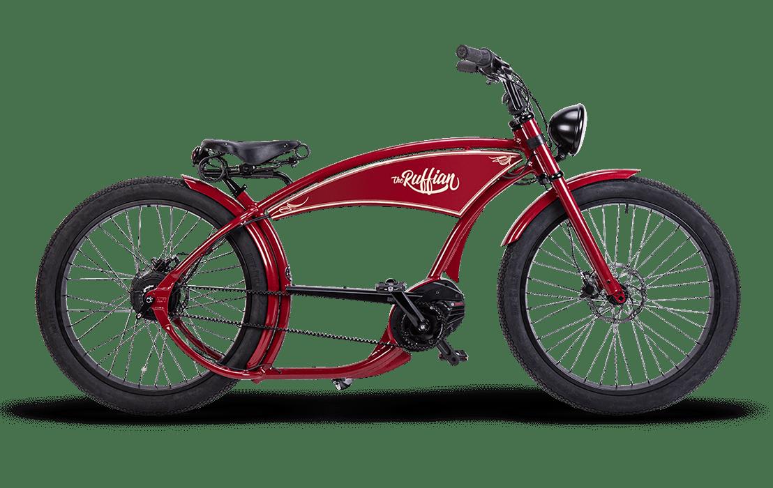 Ruff Cycles Ruffian Chopper E Bike Bosch Mittelmotor 500Wh Rouge