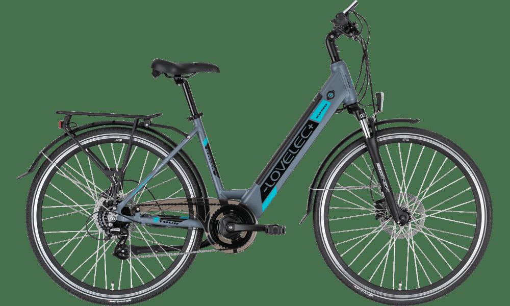 """Trekking E Bike Damen Tiefeinsteiger 28 Zoll Lovelec Komo 18"""" 13ah Blue"""