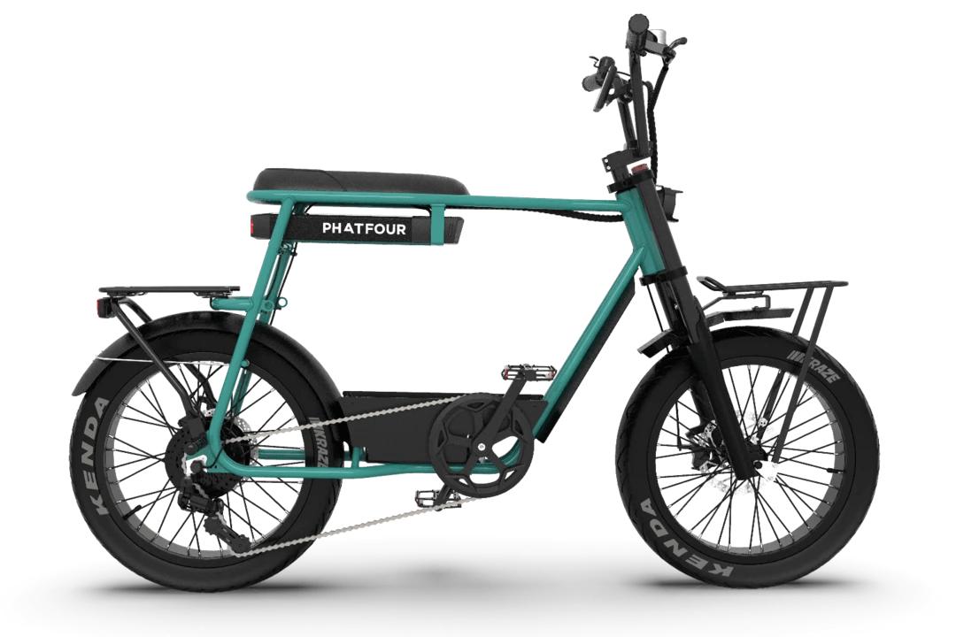 Retro E Fatbike Vintage 70s PHATFOUR FLB+ Gruen 470Wh Einzel sitz
