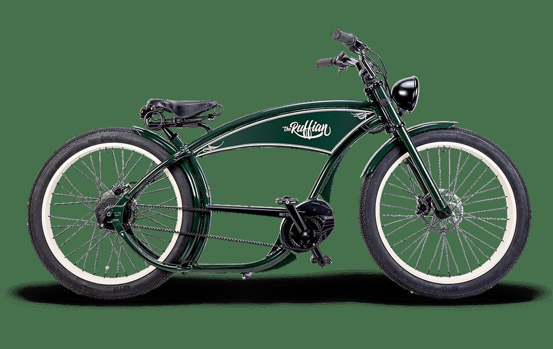 Ruff Cycles Ruffian Chopper E Bike Bosch Mittelmotor 300Wh Gruen