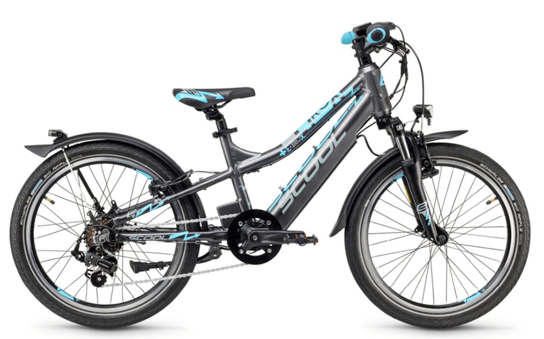 """E Bike Kinder S'cool e-troX 20"""" 7S Shimano Grau"""