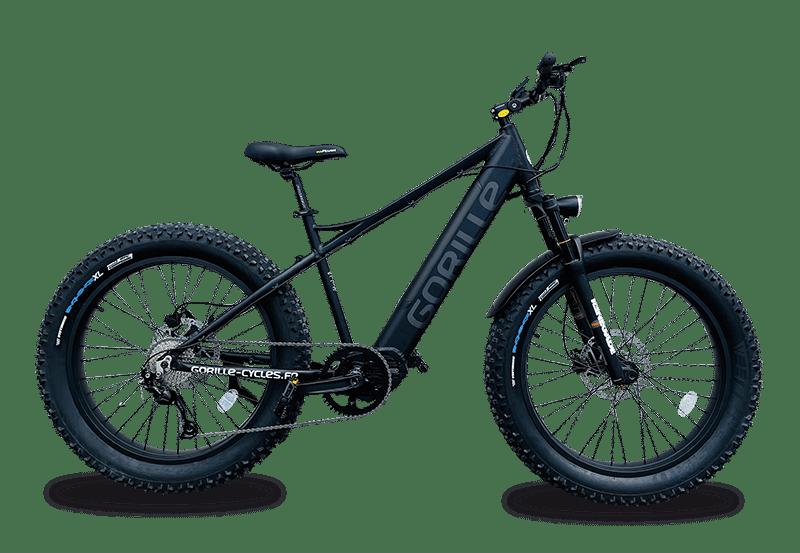 E Mountainbike Fatbike Gorille Athlete Mittelmotor 25km/h Schwarz